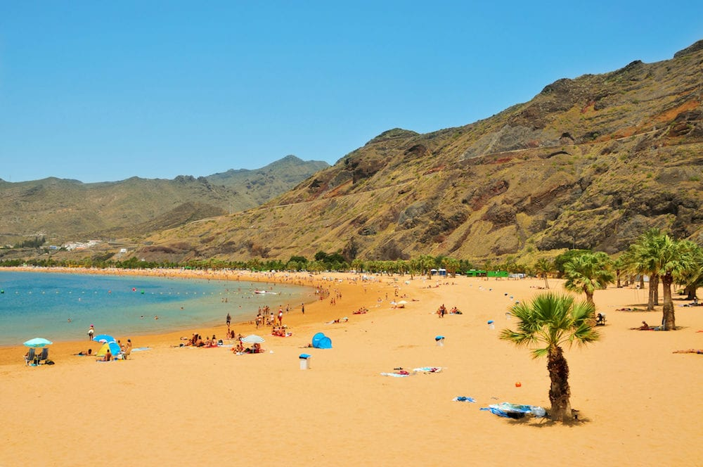TENERIFE, SPAIN - A view of Teresitas Beach in Tenerife, Canary Islands, Spain. This is the nearest beach to Santa Cruz and one of the few in the North-East of the island