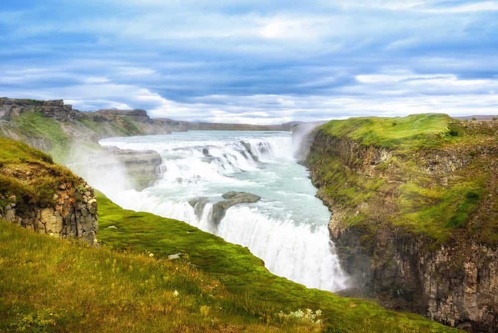 Amazing huge beautiful waterfall Gullfoss, famous landmark in Iceland