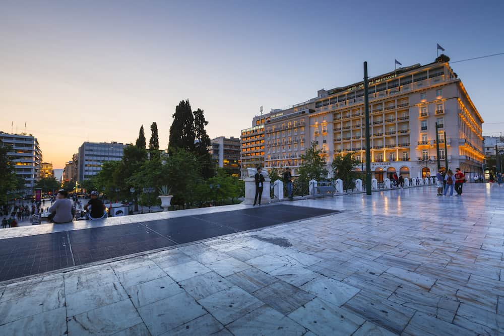 ATHENS, GREECE - People hanging out in Syntagma square in Athens on a warm evening