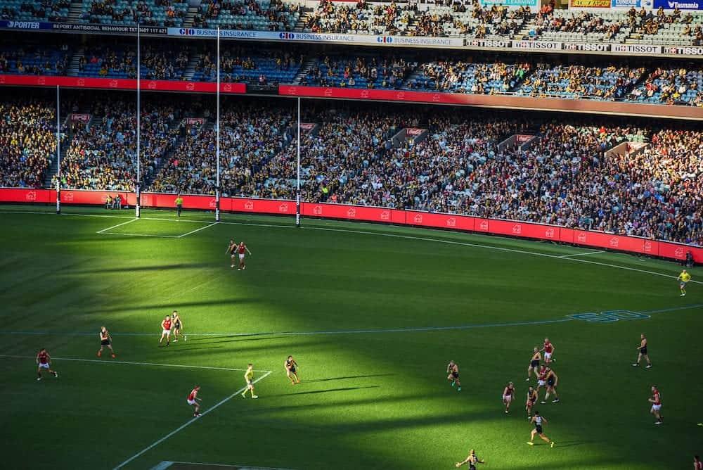 MELBOURNE AUSTRALIA - Australian football or footy favourite aussie sports at Melbourne Cricket Ground (MCG) Stadium in Yarra Park of Melbourne Victoria Australia.