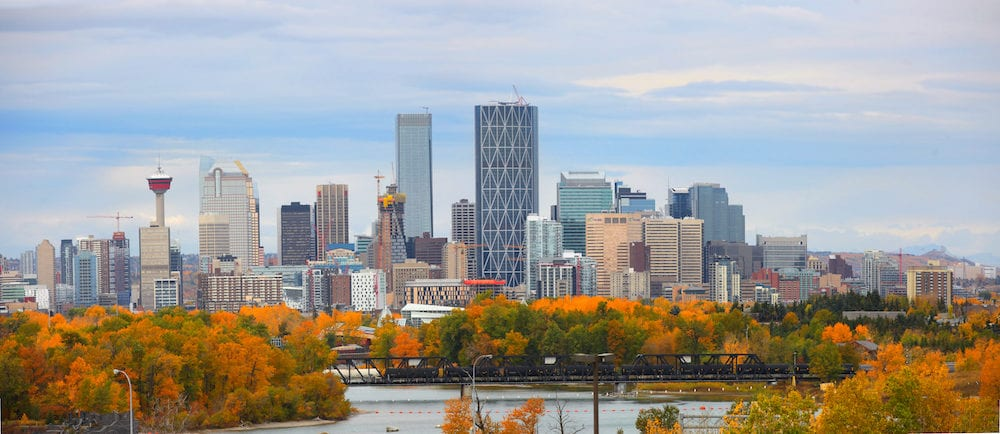 CALGARY, ALBERTA, CANADA - - View of the Calgary, Alberta skyline from Edowrthy Park