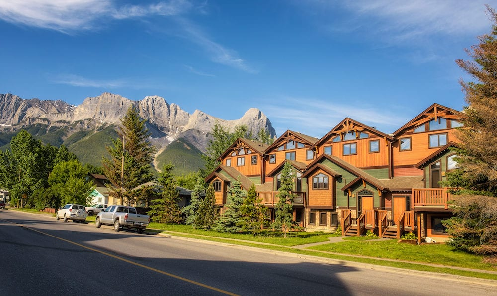 CANMORE, ALBERTA, CANADA - : On the streets of Canmore in canadian Rocky Mountains. Canmore is located in the Bow Valley near Banff National Park and is a popular tourist destination.