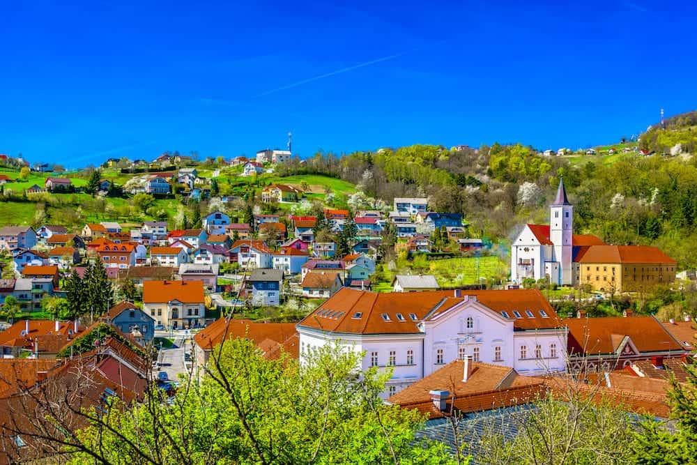 Aerial view at picturesque town Krapina cityscape in Croatia, Zagorje Region scenery.