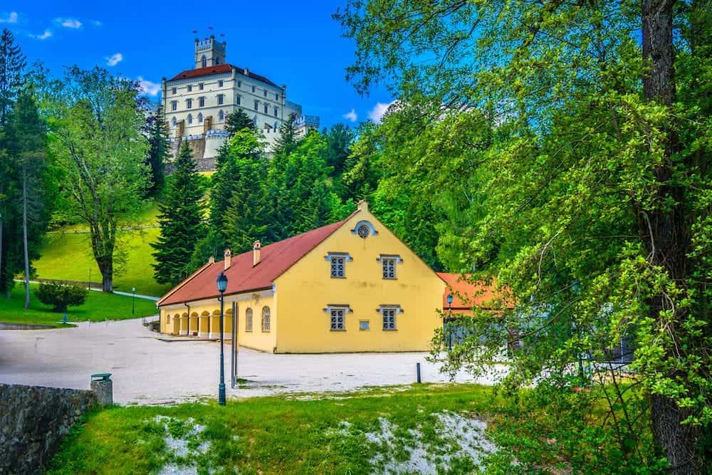 Scenic view at marble scenery in Zagorje, old castle Trakoscan landmark.