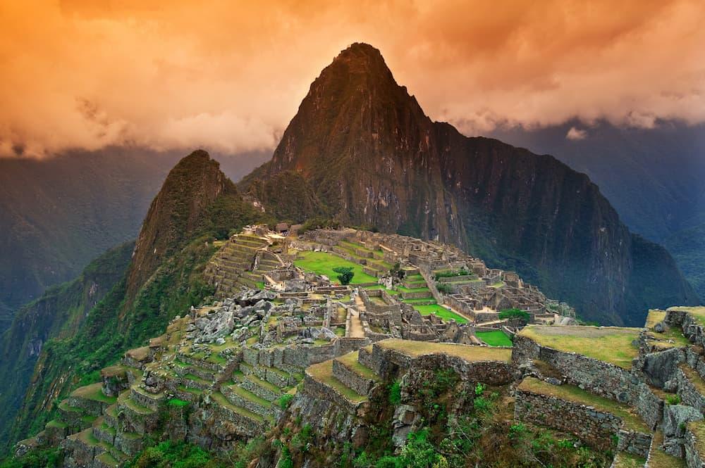 View of the Lost Incan City of Machu Picchu near Cusco Peru.