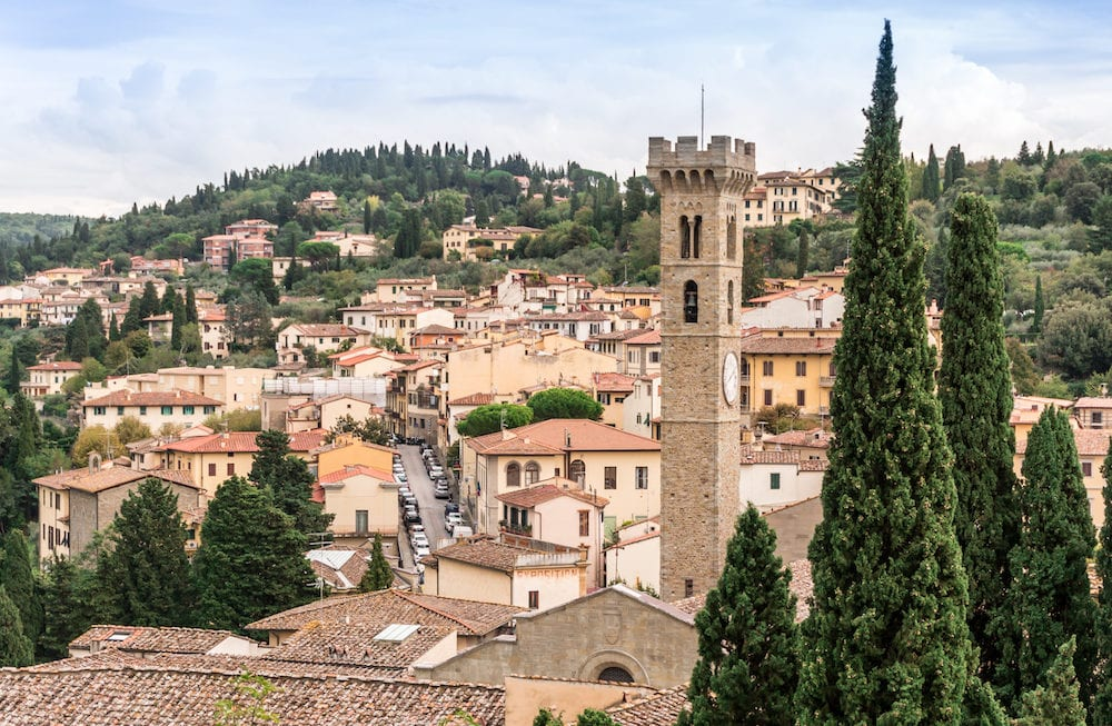 View of city center of Fiesole with cathedral tower.