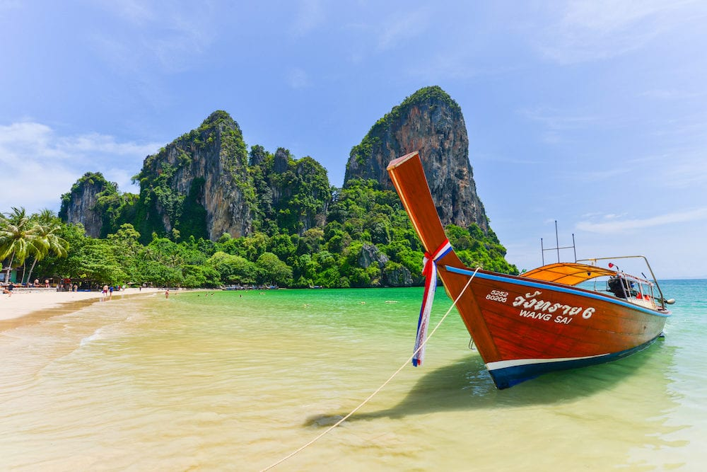 KRABI THAILAND - Boat waiting for tourists To leave the Railay beach. Krabi province Thailand