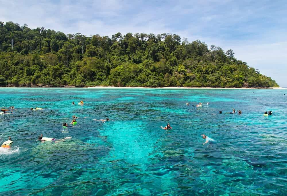 Snorkeling at Koh Rok Andaman Sea THAILAND.