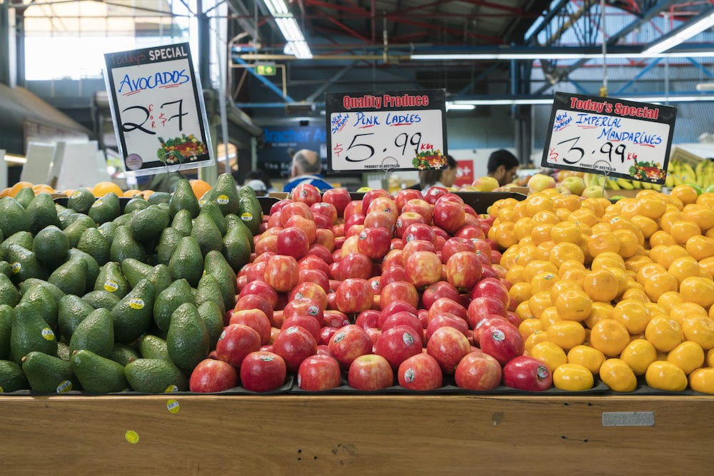 Melbourne, Australia : Fruit for sale in a grocery store at Prahran Market in Melbourne