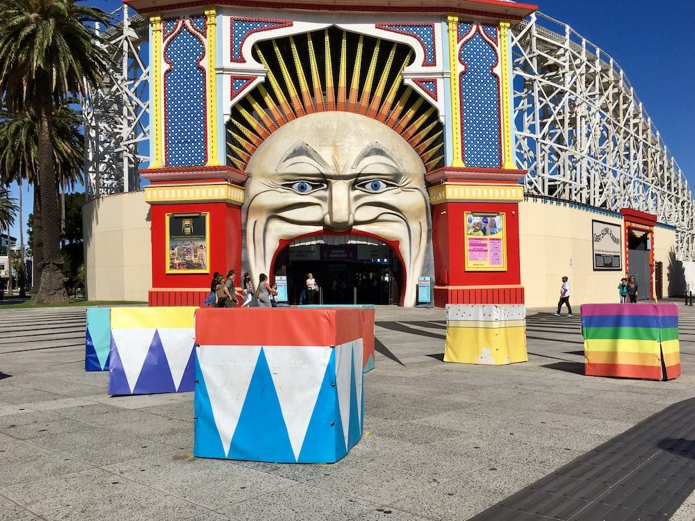 Melbourne, Australia: Street view of Luna Park in St Kilda with the newly installed concrete blocks as protection against terrorism.