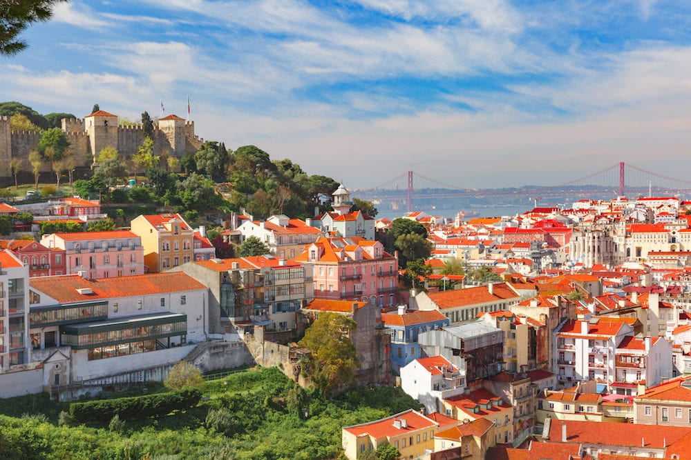 The Castle of Sao Jorge, the historical centre of Lisbon, Tagus River and Bridge on the sunny afternoon, Lisbon, Portugal