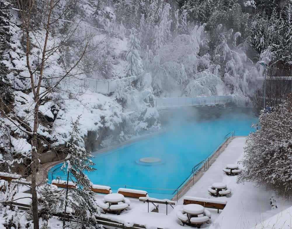 Swimming pool at Radium hot springs in British Columbia in winter