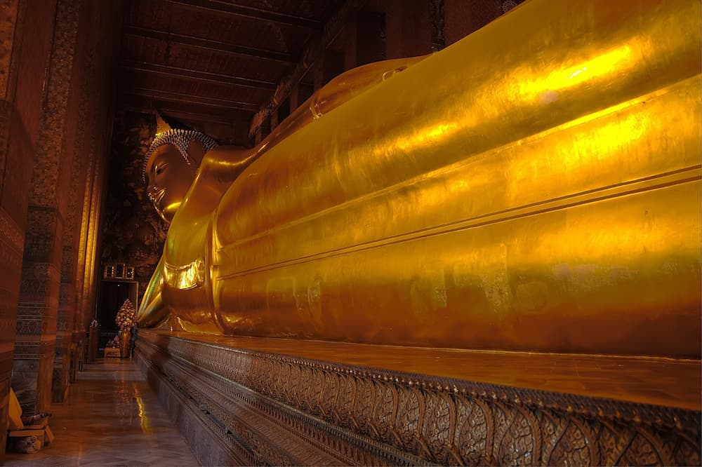The very large reclining Buddah in Bangkok Thailand.