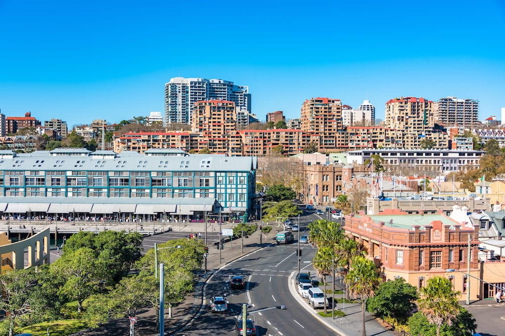 Sydney Australia - Woolloomooloo and Potts Point neighbourhoods with historic Woolloomooloo wharf and Bells hotel aerial view