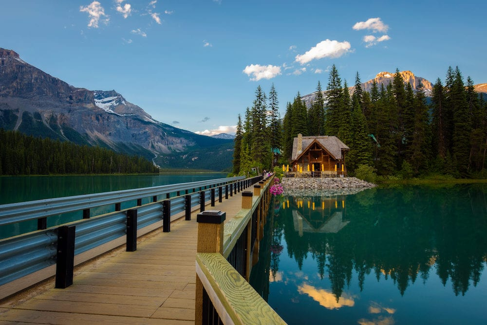EMERALD LAKE, CANADA - : Emerald Lake Lodge with a restaurant in Yoho National Park, British Columbia, Canada.