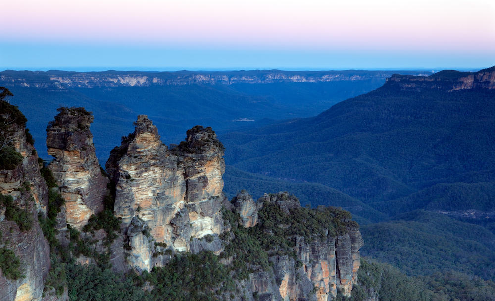 The Three Sisters Katoomba Blue Mountains Sydney Australia. Taken just after sunset. You can see why they're called the Blue Mountains!