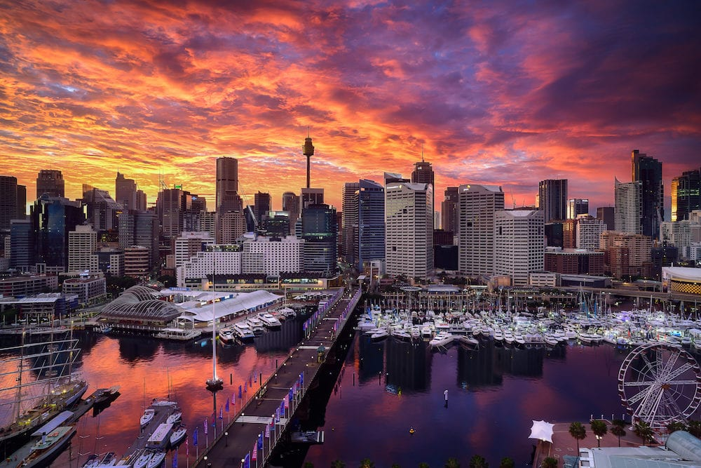 SYDNEY AUSTRALIA - : Sunrise of Darling Harbour adjacent to the city center of Sydney and also a recreational place in Sydney central business district