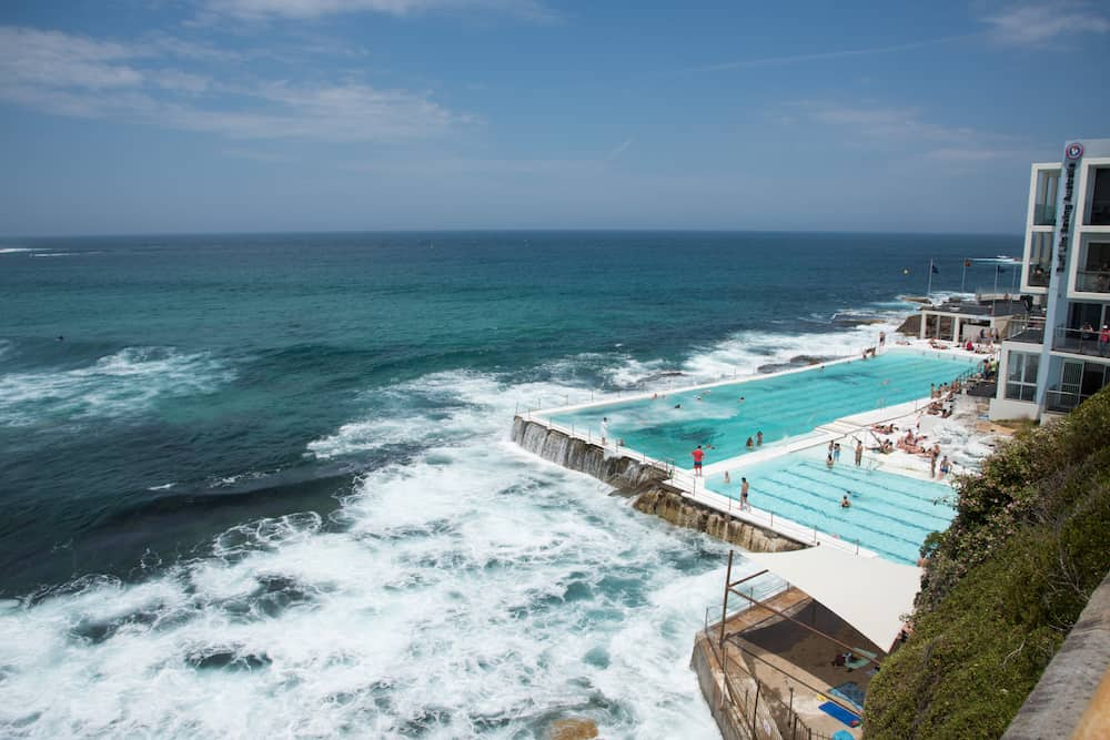 SYDNEY,NSW,AUSTRALIA-Elevated view over Icebergs Pool with people on the Pacific Ocean waterfront at Bondi Beach area in Sydney, Australia.