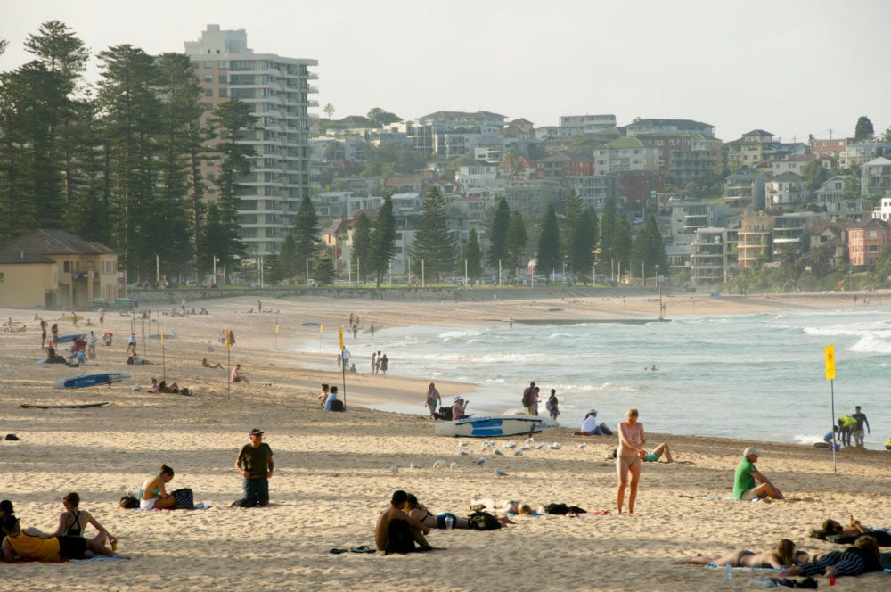MANLY, AUSTRALIA - : Popular tourist & local Manly beach