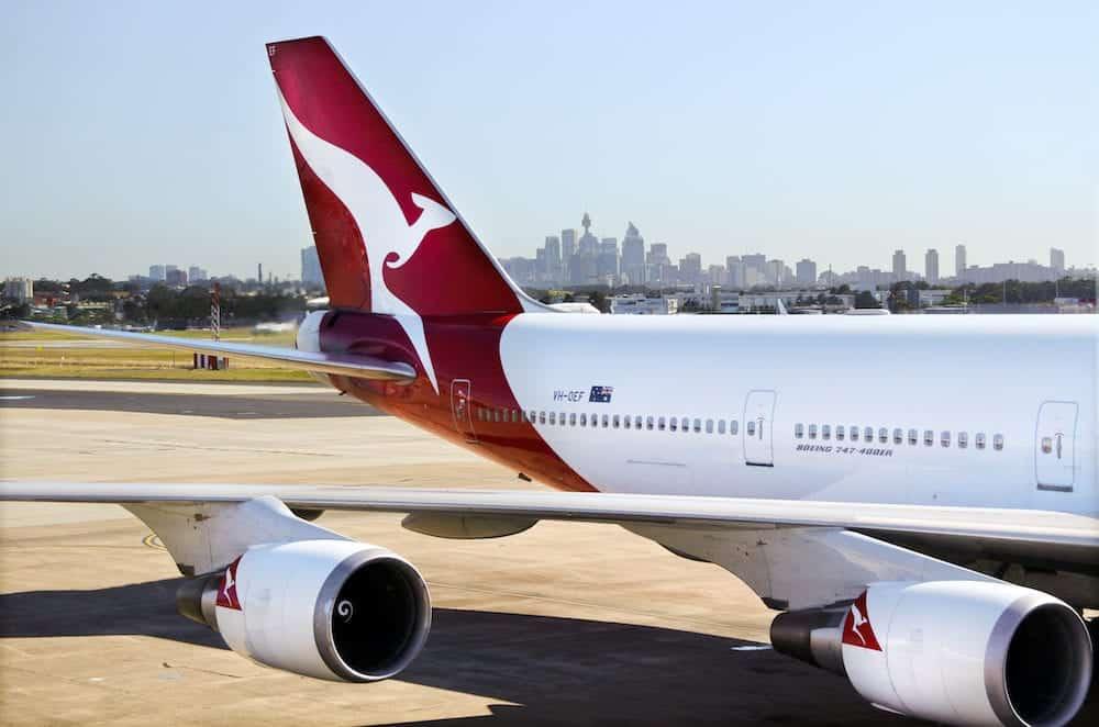 SYDNEY Australia - :Qantas Airways jet plane at Sydney Airport Sydney Australia.Qantas Airways is the flag carrier airline of Australia by fleet size international flights and destinations.