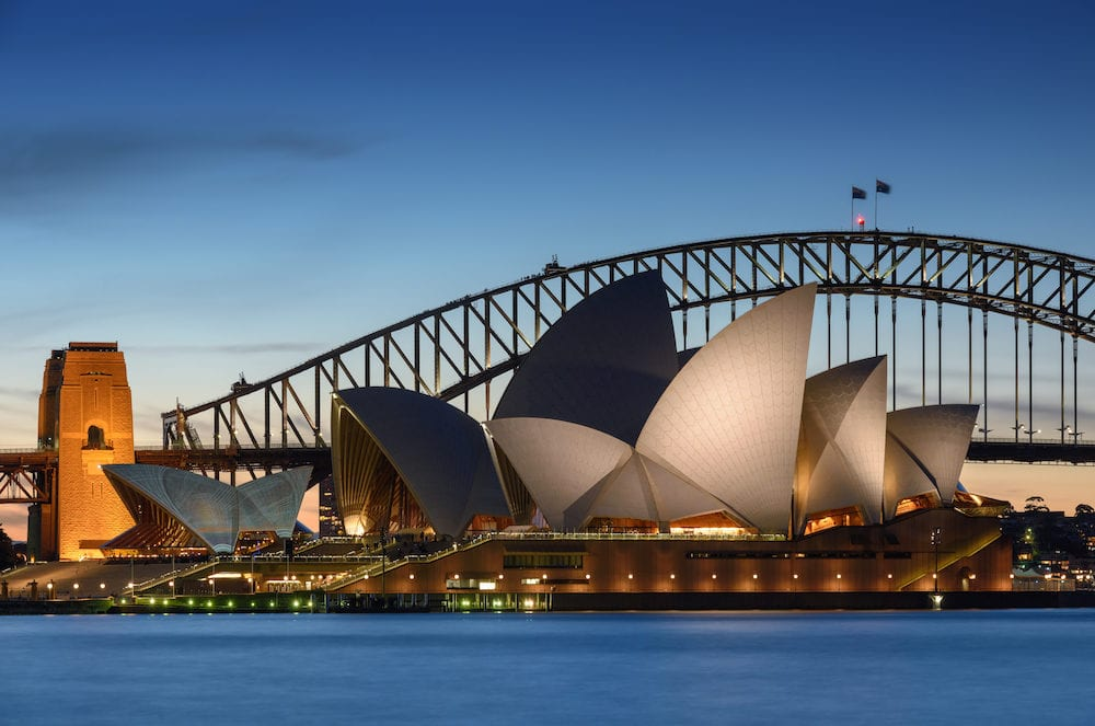 SYDNEY AUSTRALIA - View of Sydney Opera House. Sydney Australia Over 10 millions tourists visit Sydney every year