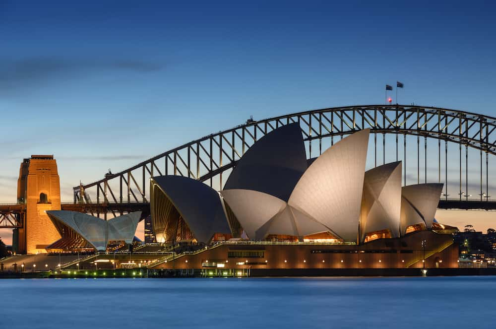 SYDNEY AUSTRALIA - View of Sydney Opera House. Sydney Australia Over 10 millions tourists visit Sydney every year