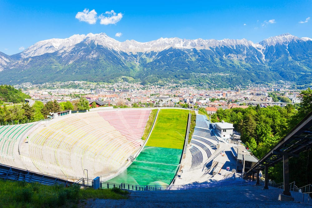 INNSBRUCK, AUSTRIA - The Bergisel Sprungschanze Stadion is a ski jumping hill stadium located in Bergisel in Innsbruck, Austria