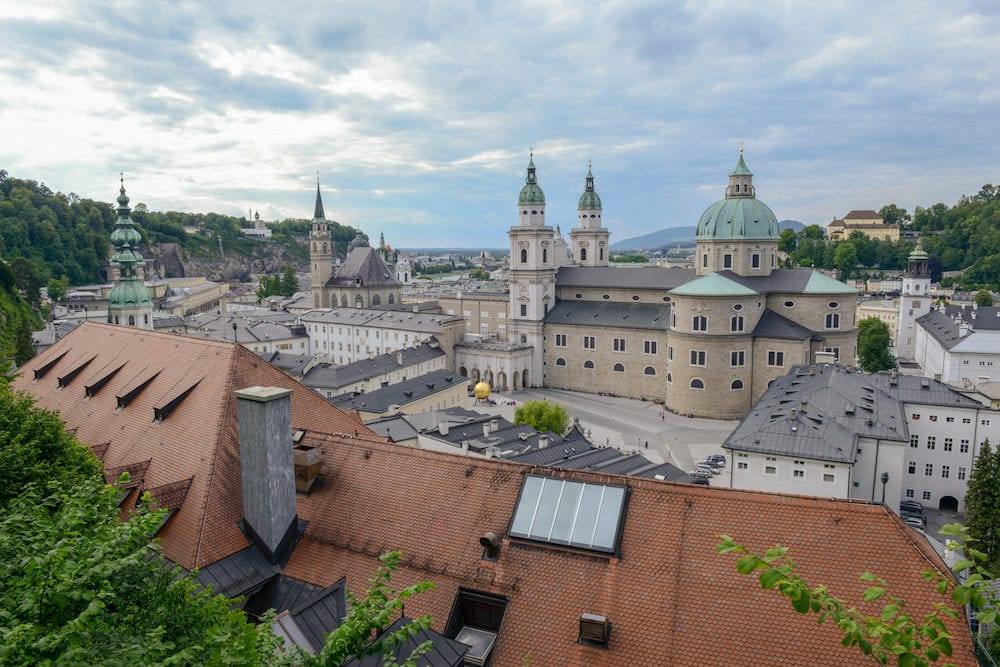 View from Hohensalzburg Castle on Kapitelplatz, St Peter's Abbey, Franciscan Church and Salzburg Cathedral, Austria