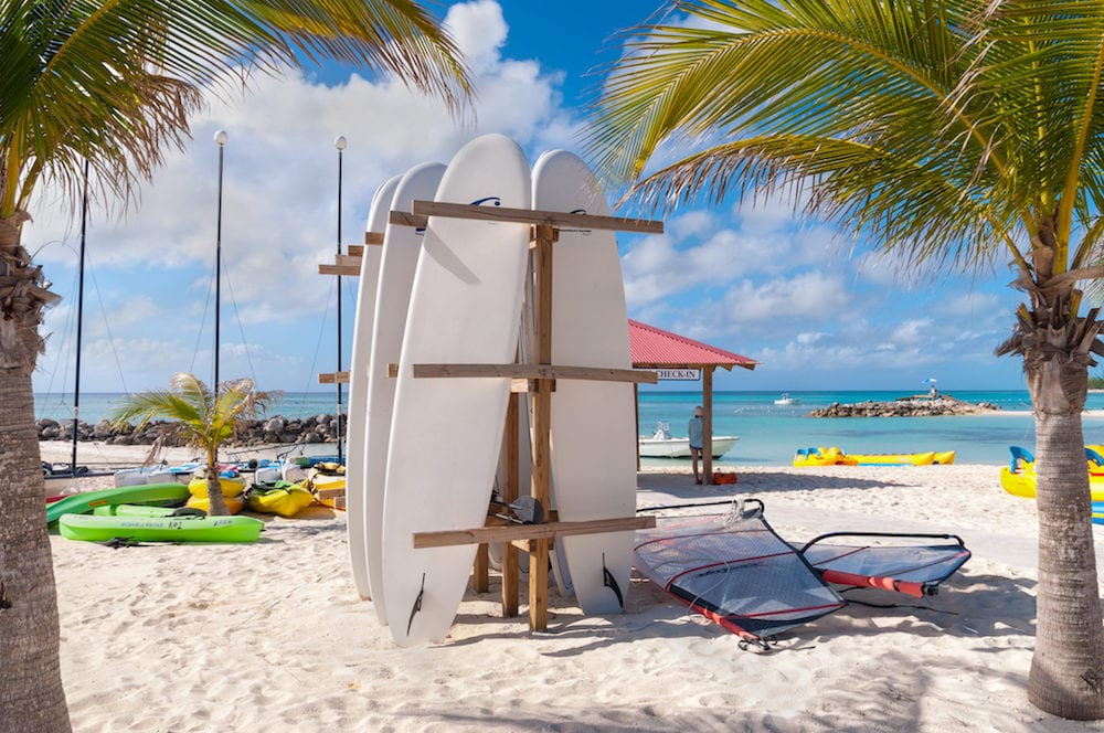 Eleuthera Bahamas - : Surf boards parking rack in front of the water sport check-in on Princess Cays beach Eleuthera in the Bahamas