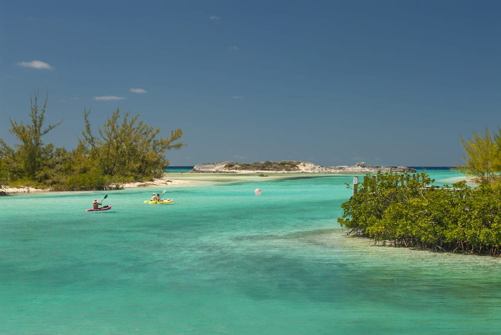 kayakers headed out of a harbor at Cat Island Bahamas