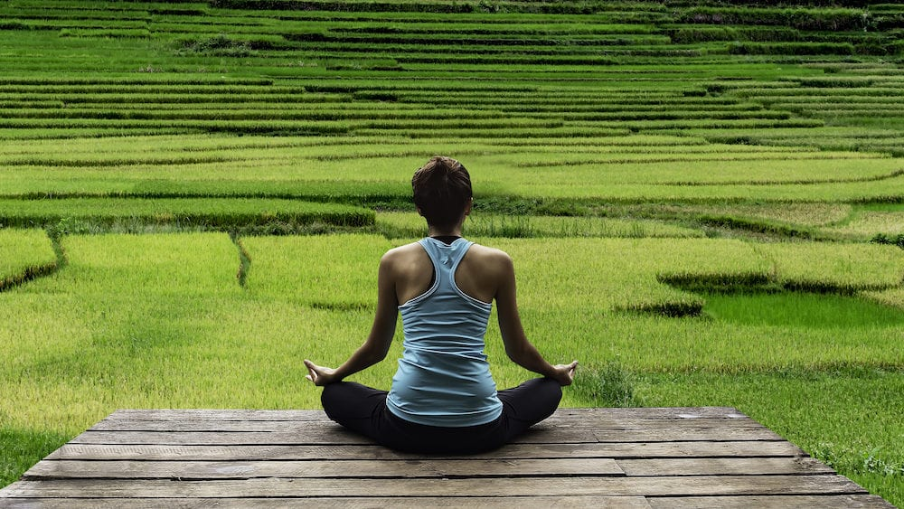 Young woman practicing yoga during luxury yoga retreat in Asia Bali meditation relaxation getting fit enlightening green grass jungle backgroundTerraced rice field in rice season in Vietnam