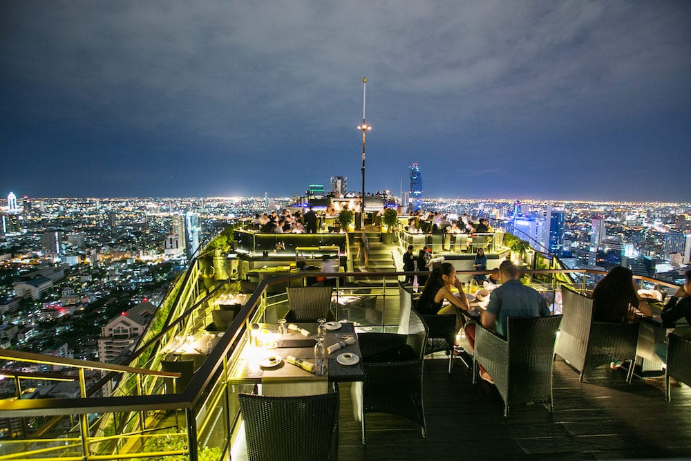 Bangkok, Thailand - Beautiful view from rooftop restaurant Vertigo and moon bar at Banyan Tree Hotel Bangkok