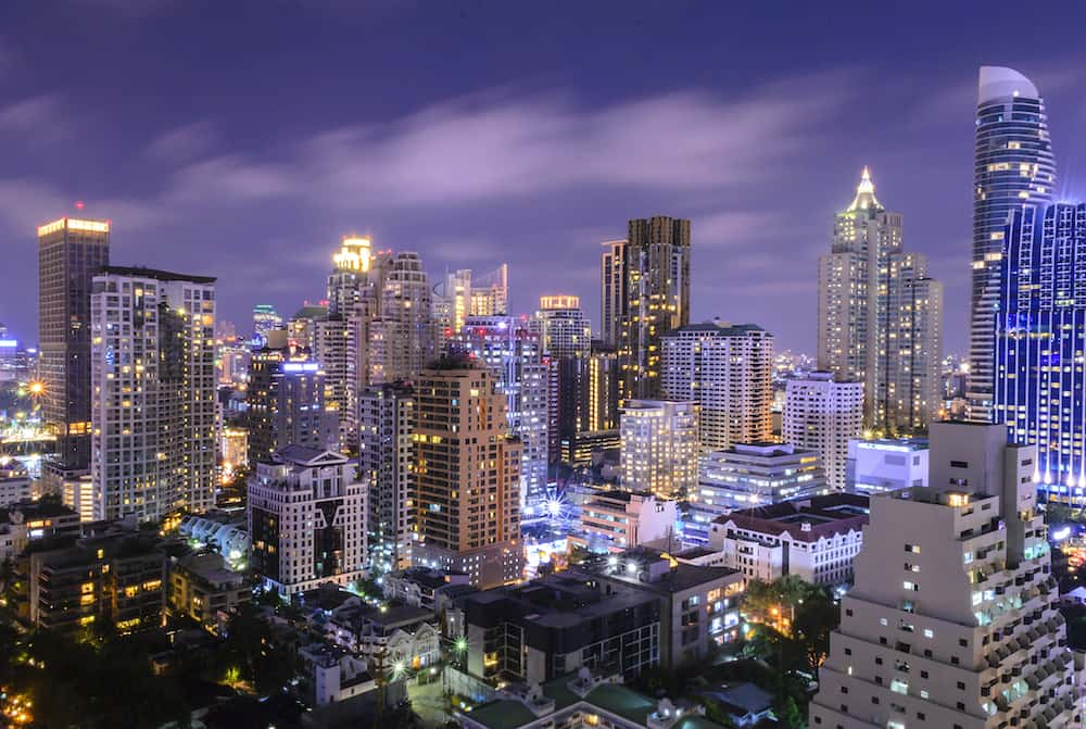 Cityscape with sunset at before night in Bangkok Thailand.