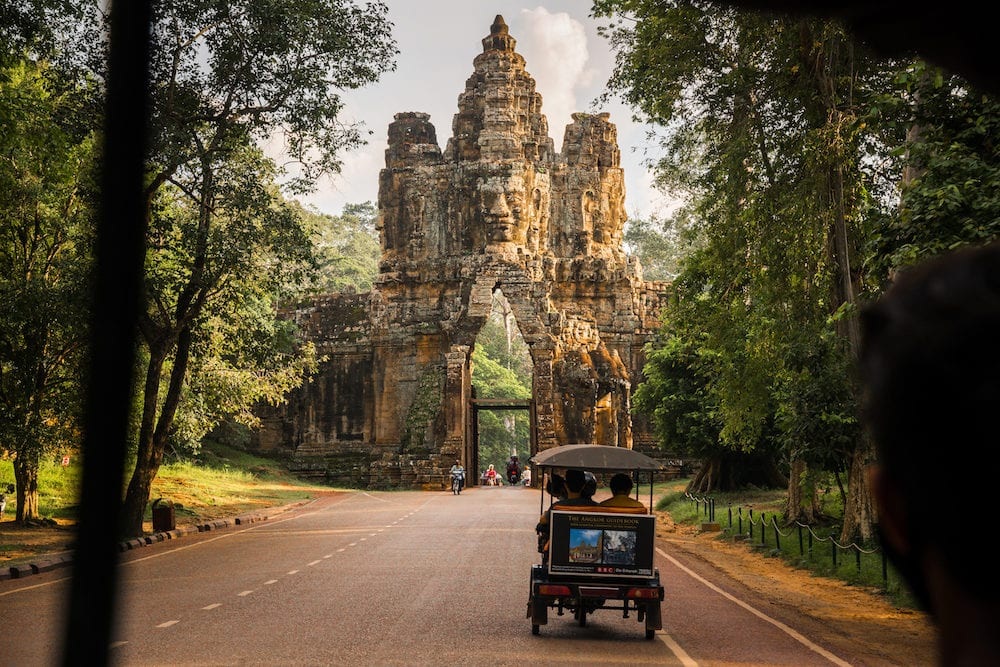 Siem Reap, Cambodia - The Bayon gate of Angkor Thom the ancient Khmer empire in Siem Reap, Cambodia.