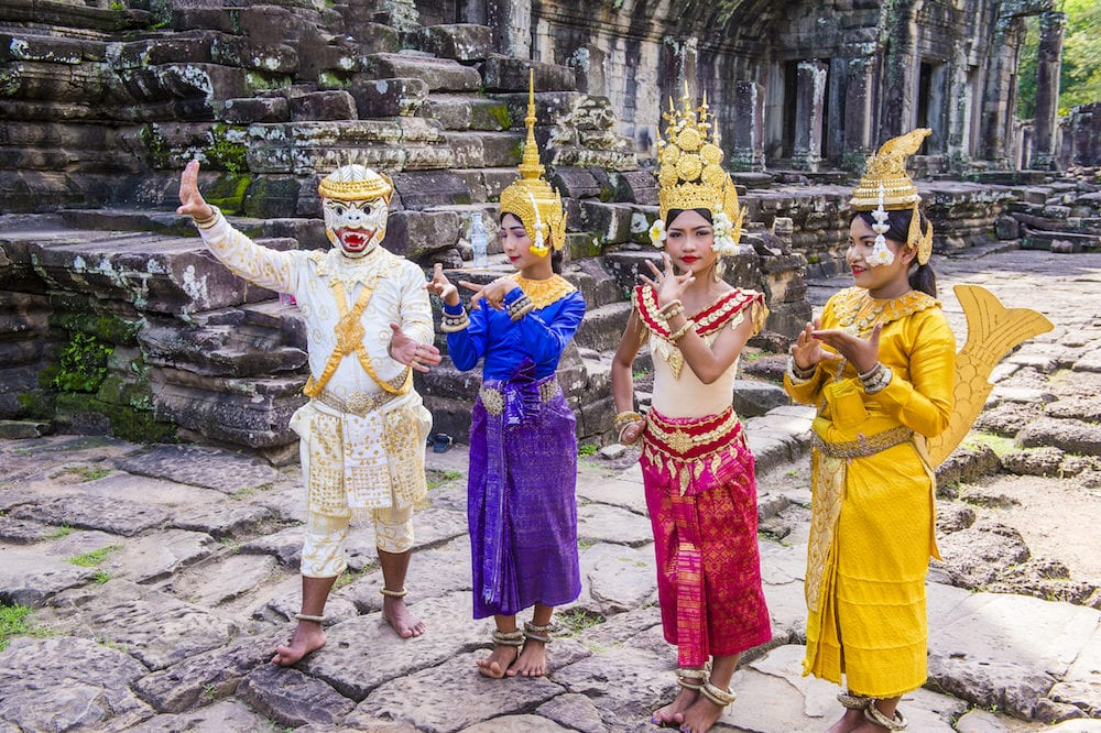 SIEM REAP , CAMBODIA - : Cambodians Apsara dancers in Angkor Wat , Siem Reap Cambodia. The Apsara dance is a traditional dance of Cambodia.
