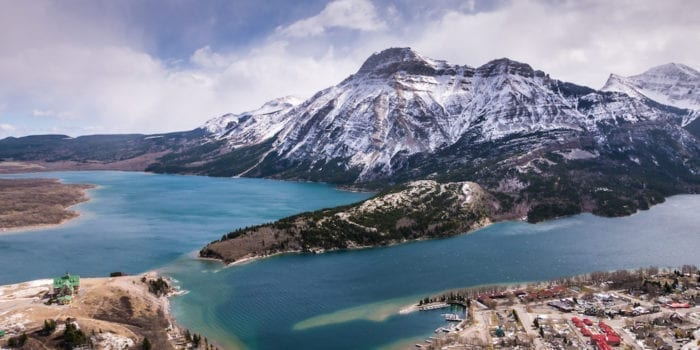 Aerial view of Waterton Lakes from the Bear's Hump, Waterton Lakes National Park, Canada