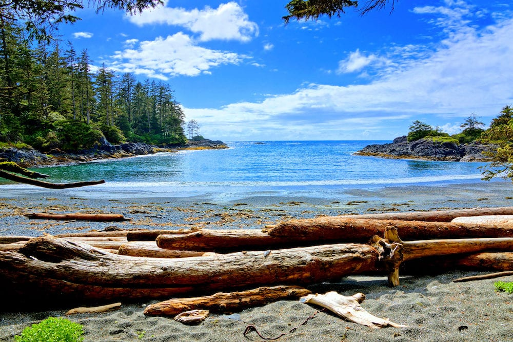Blue water and skies along the coast of Pacific Rim National Park Vancouver Island BC Canada