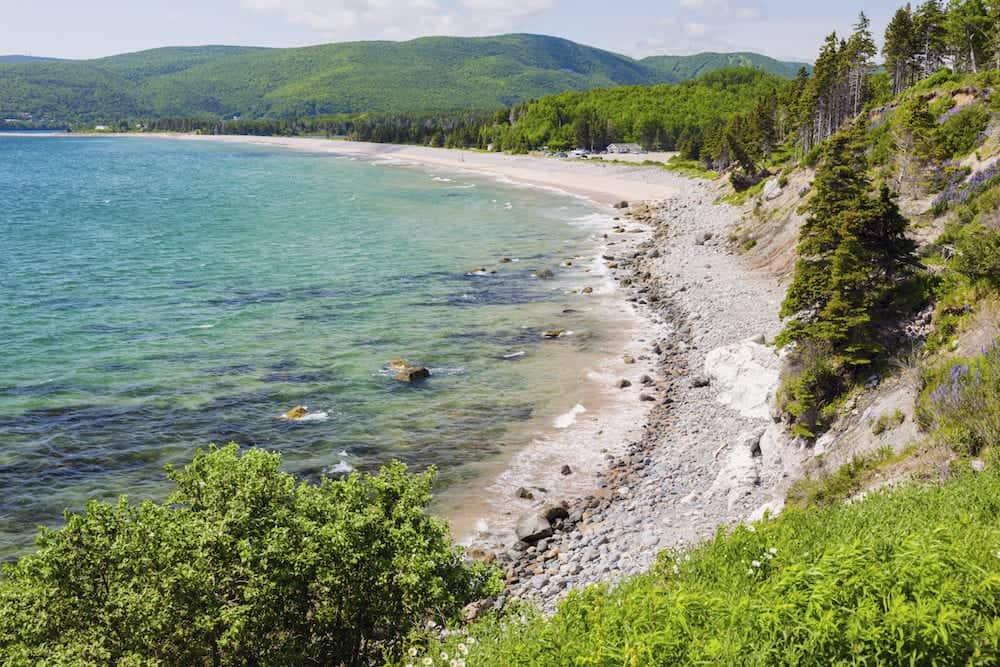 Cape Breton Highlands National Park in Nova Scotia. Ingonish Beach, Nova Scotia, Canada.