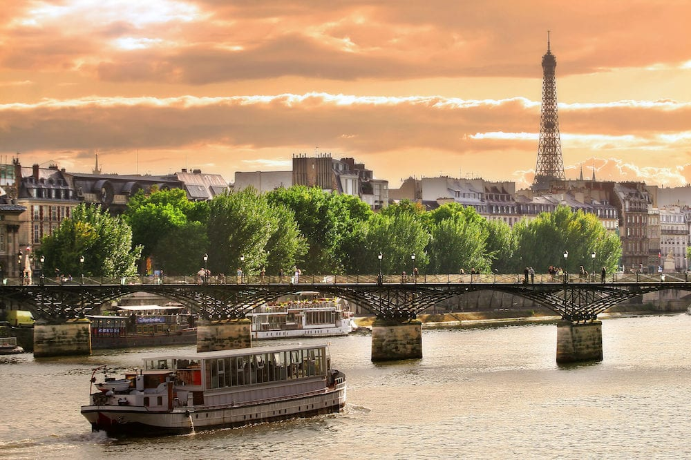 Cruise ship on the Seine river in Paris, France.