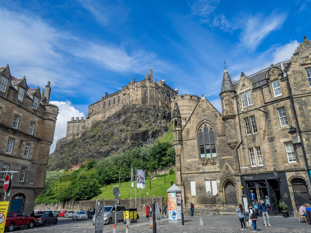 EDINBURGH, SCOTLAND - View of Edinburgh Castle from the Grassmarket ares of the Old Town in Edinburgh, Scotland. The famous Grassmarket is a popular area of Edinburgh.