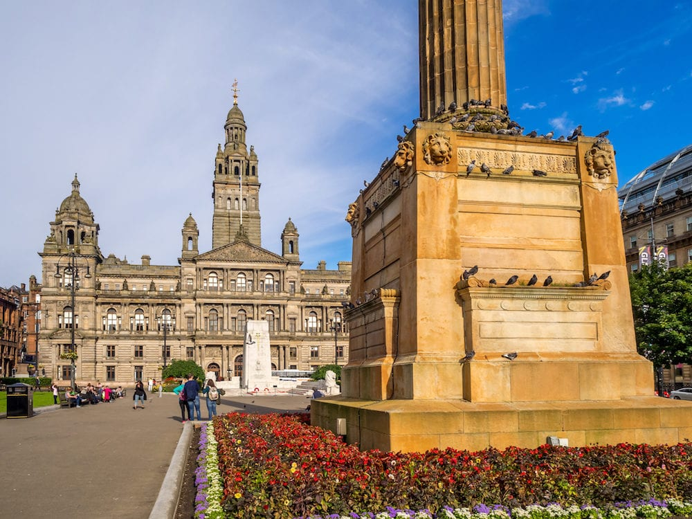 GLASGOW, SCOTLAND - : George Square in Glasgow, Scotland. George Square is the principal civic square in the city of Glasgow. It is named after King George III.