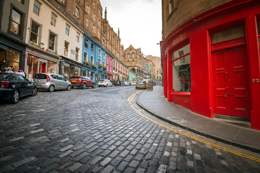 Edinburgh UK - Local shops of a Victoria Street