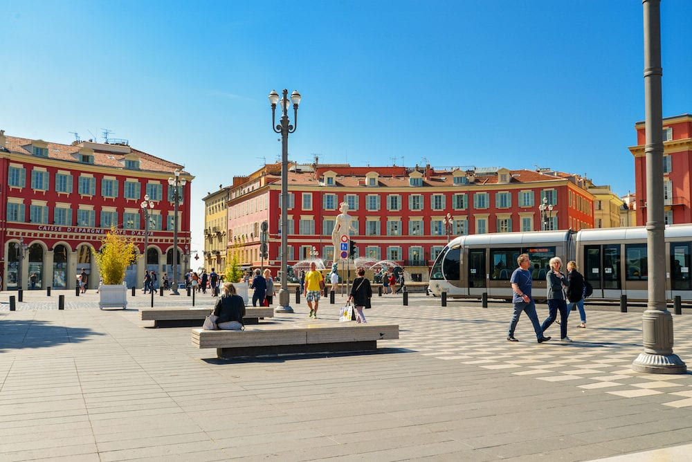 NICE FRANCE -Central Square in Nice France. Central Square - Place Massena new landmark of the town.