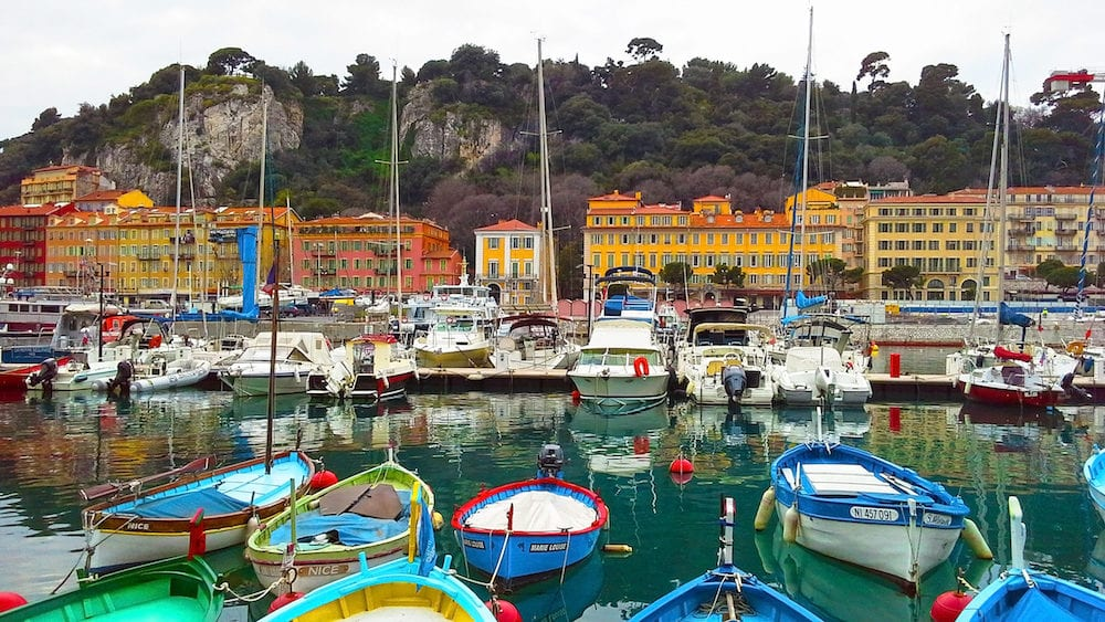 NICE, FRANCE -Colorful boats in the port of Nice, Cote d'Azur, French Riviera, France.