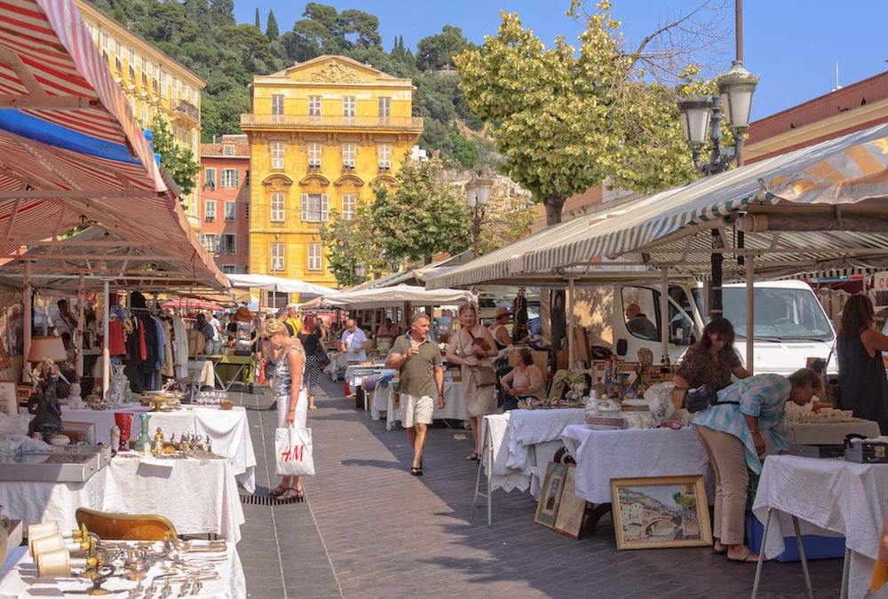 Every Monday the Cours Saleya market in the heart of the Old Town becomes an antiques/flea market - Nice, France,