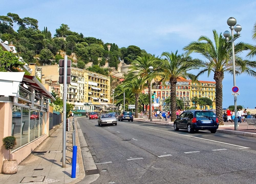 French Riviera. Beautiful street in Nice France.
