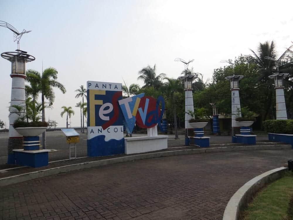 JAKARTA, INDONESIA - A signboard of Pantai Festival Ancol (Ancol Festival Beach) in Ancol Dreamland.