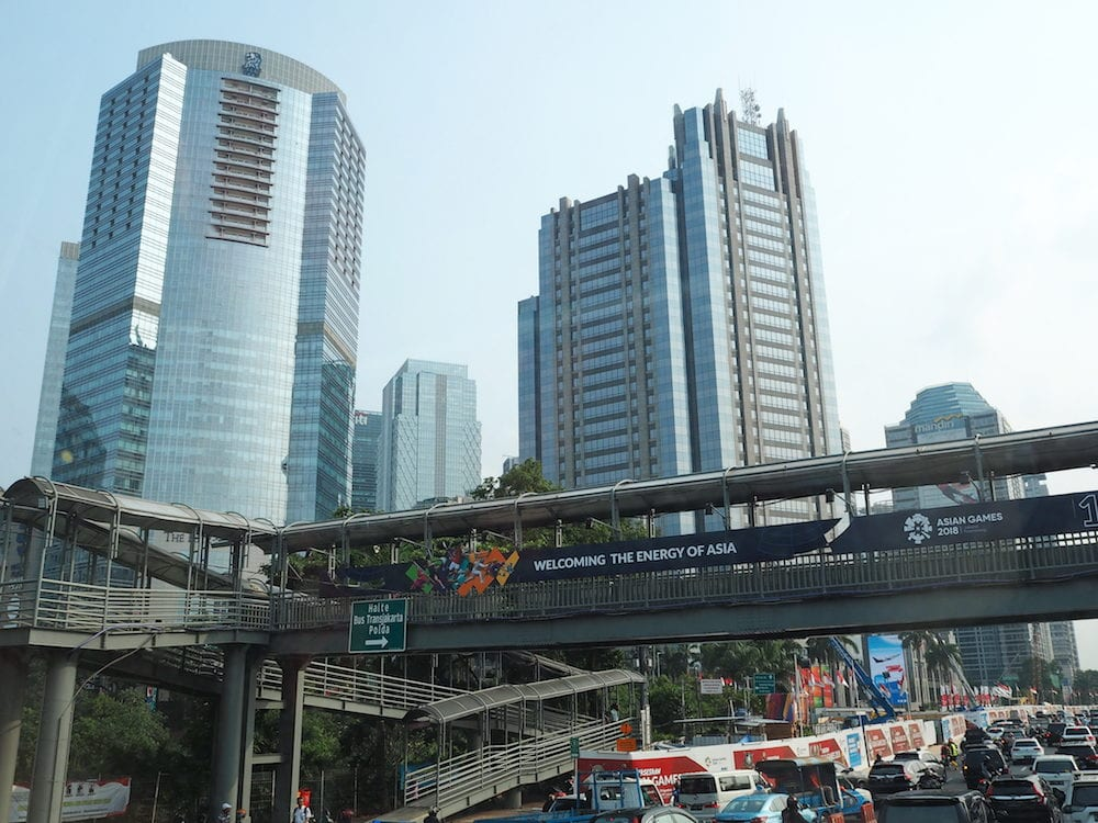 JAKARTA, INDONESIA - Traffic on Jalan Sudirman around Sudirman Central Business District (SCBD).