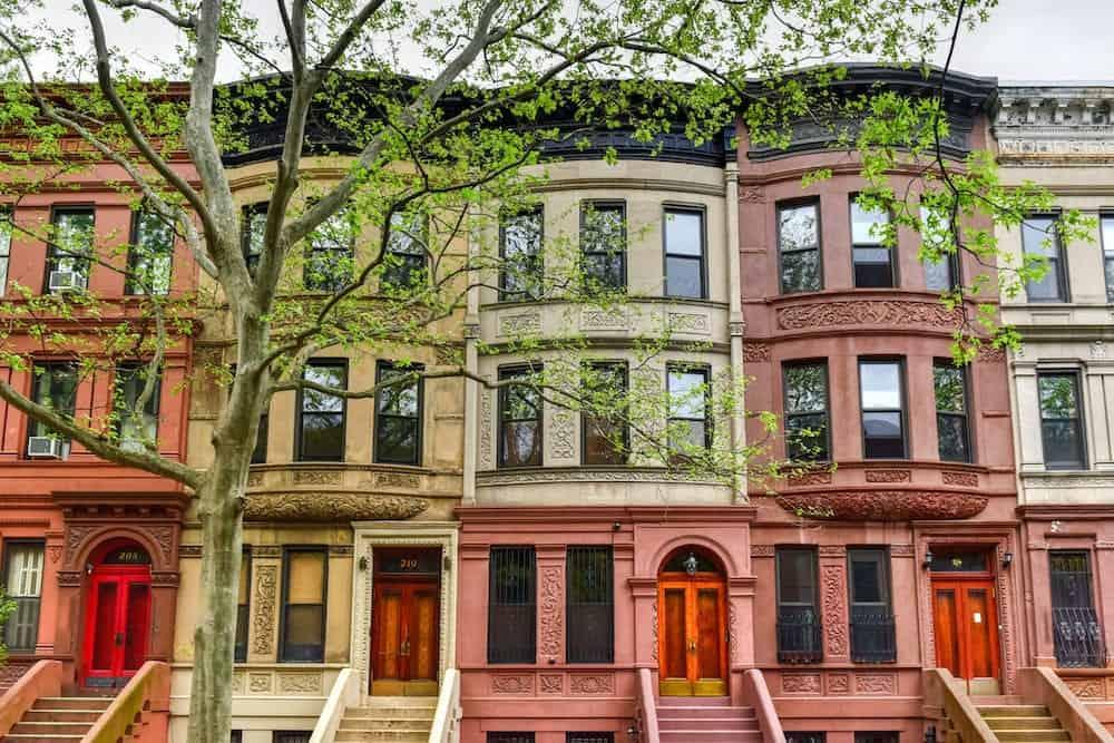 New York City - Brownstones in the Harlem Neighborhood of New York City.