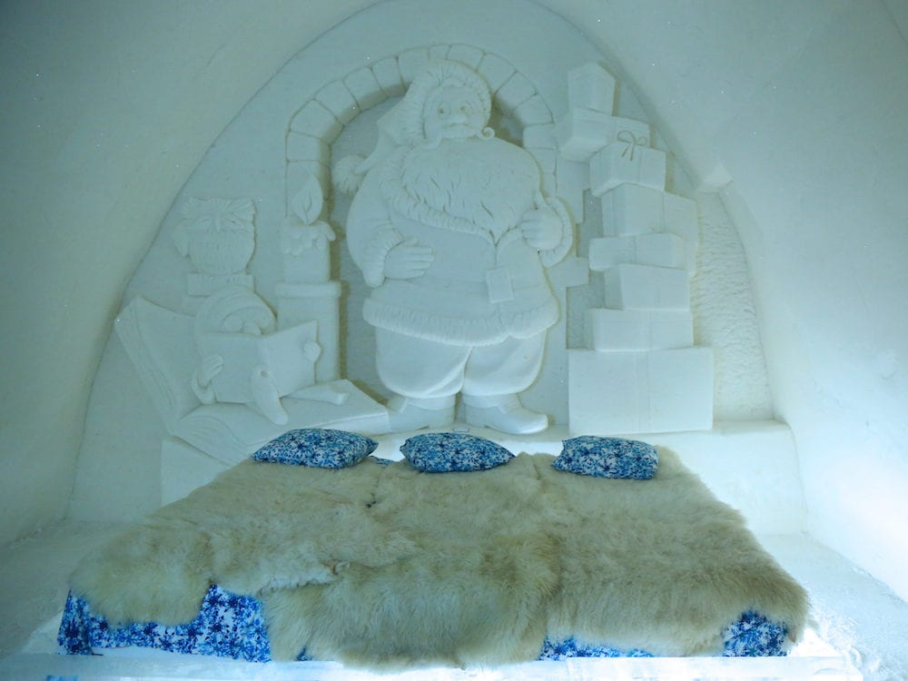 KEMI, FINLAND - Unique beautifully decorated Santa Claus snow suite in Snow Hotel at LumiLinna Snow Castle in Kemi, Finland. Snow Hotel is the World Luxury Hotel Global Award Winner